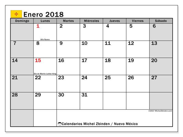 Calendario enero 2018, con los días feriados en Nuevo México. Calendario imprimible gratis.