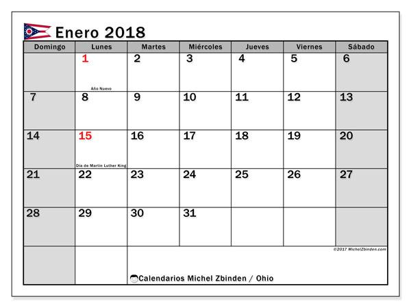 Calendario enero 2018, con los días feriados en Ohio. Calendario mensual para imprimir gratis.