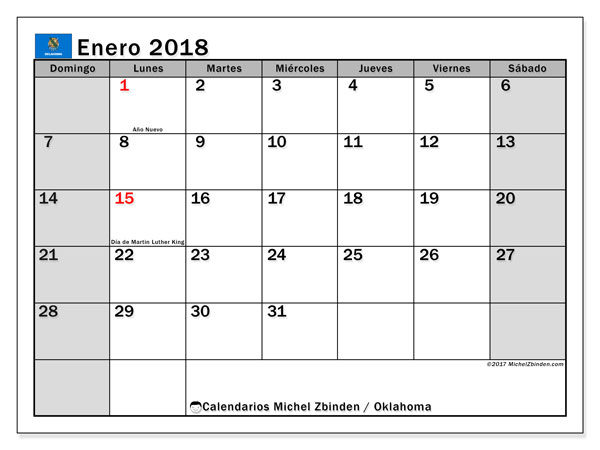 Calendario enero 2018, con los días feriados de Oklahoma. Planificación para imprimir gratis.