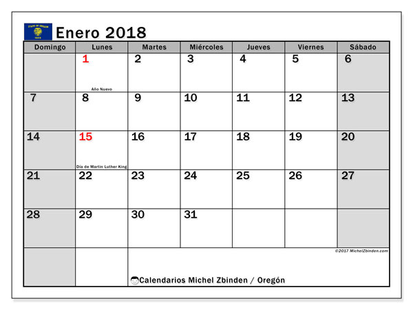 Calendario enero 2018, con los días feriados en Oregón. Almanaque para imprimir gratis.