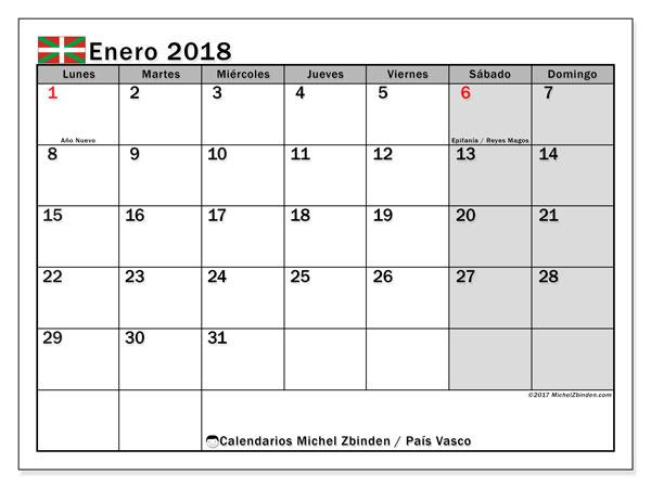 Calendario enero 2018, con los días festivos del País Vasco. Calendario imprimible gratis.