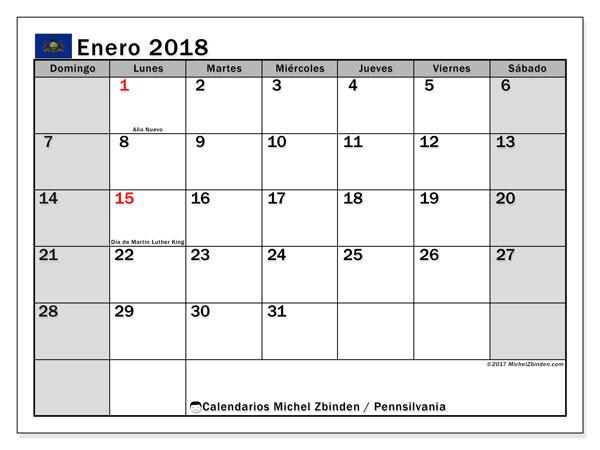 Calendario enero 2018, con los días feriados en Pennsilvania. Almanaque para imprimir gratis.