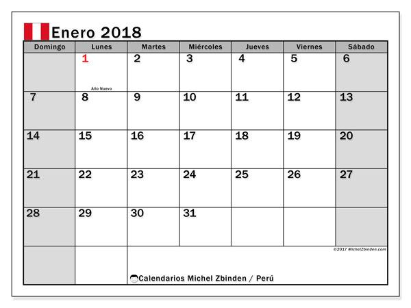 Calendario enero 2018, con los días feriados para Perú. Planificación para imprimir gratis.