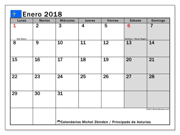 Calendario enero 2018, con los días festivos del Principado de Asturias. Almanaque para imprimir gratis.
