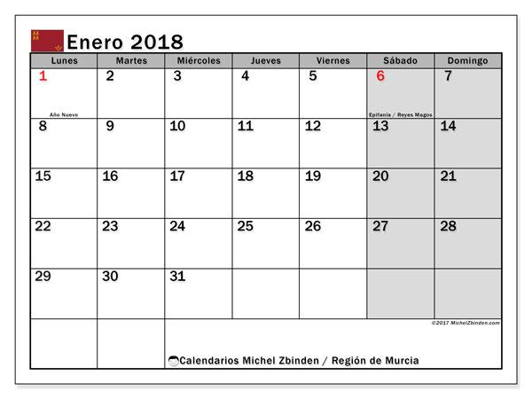Calendario enero 2018, con los días festivos en la Región de Murcia. Calendario para imprimir gratis.