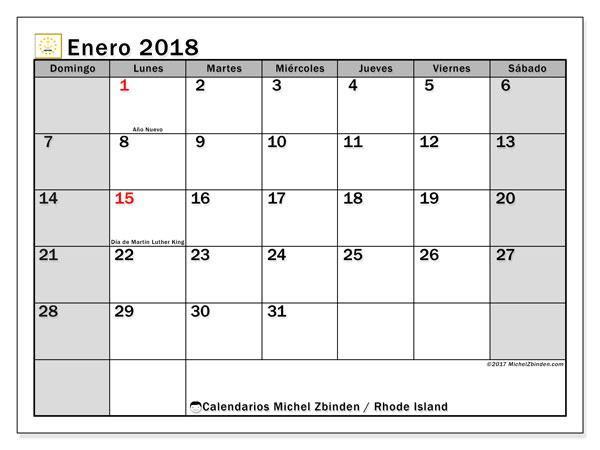 Calendario enero 2018, con los días feriados en Rhode Island. Calendario mensual para imprimir gratis.