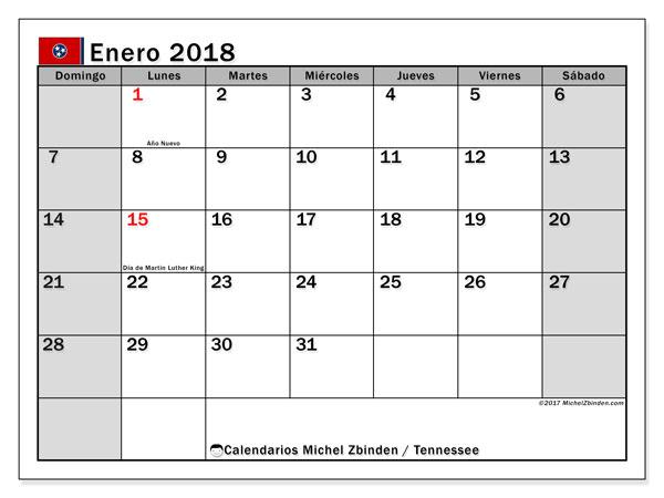 Calendario enero 2018, con los días feriados en Tennessee. Calendario para el mes para imprimir gratis.