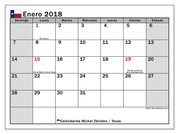 Calendario enero 2018, con los días feriados en Texas. Almanaque para imprimir gratis.