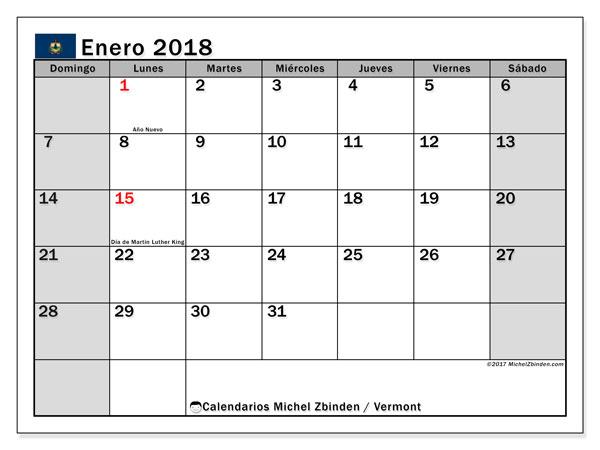 Calendario enero 2018, con los días feriados en Vermont. Calendario imprimible gratis.
