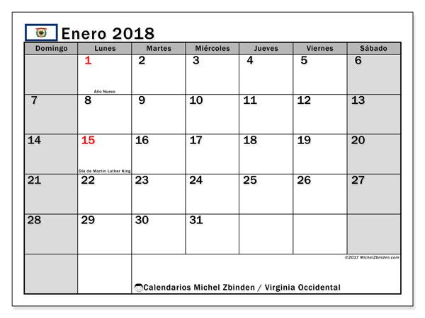 Calendario enero 2018, con los días feriados de Virginia Occidental. Calendario imprimible gratis.