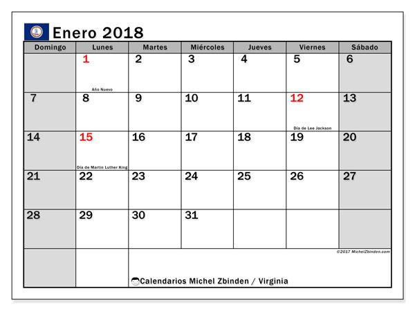 Calendario enero 2018, con los días feriados en Virginia. Calendario para imprimir gratis.