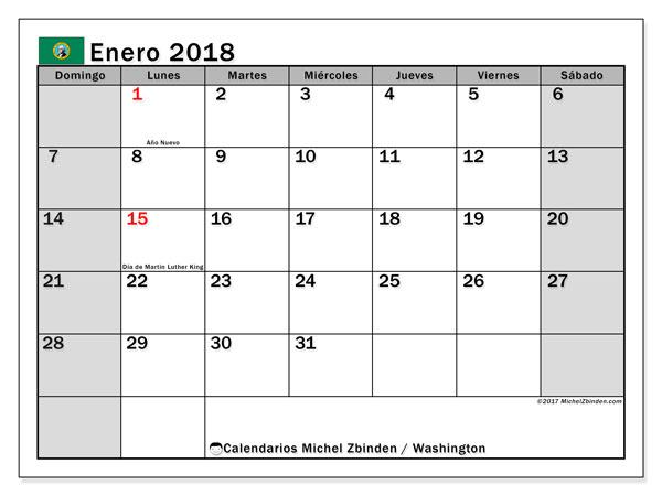 Calendario enero 2018, con los días feriados en Washington. Planificación para imprimir gratis.