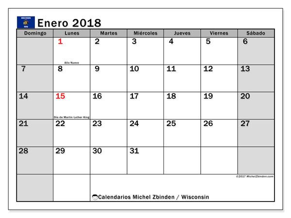 Calendario enero 2018, con los días feriados en Wisconsin. Calendario gratuito para imprimir.