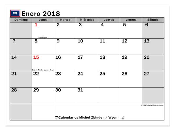 Calendario enero 2018, con los días feriados en Wyoming. Calendario imprimible gratis.