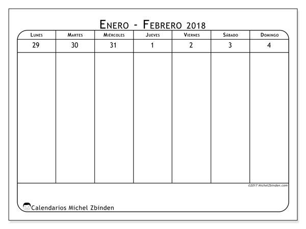 Calendario febrero 2018 (43-1LD). Calendario gratuito para imprimir.