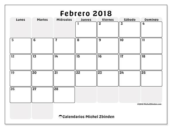 Calendario febrero 2018 (44LD). Calendario para imprimir gratis.