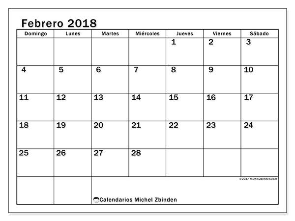 Calendario febrero 2018 (50DS). Calendario para el mes para imprimir gratis.