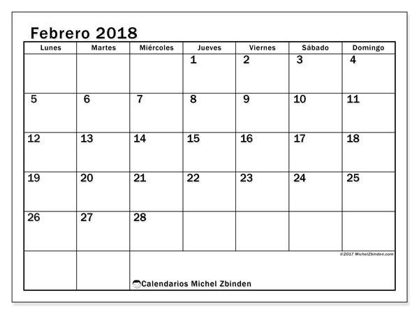 Calendario febrero 2018 (50LD). Calendario para el mes para imprimir gratis.