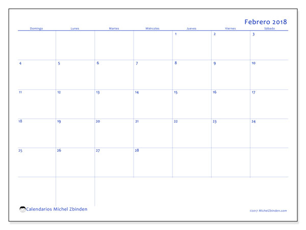 Calendario febrero 2018 (55DS). Calendario mensual para imprimir gratis.