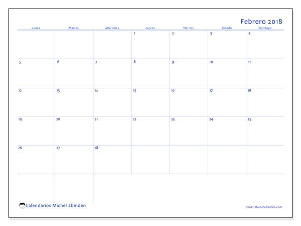 Calendario febrero 2018 (55LD). Calendario mensual para imprimir gratis.