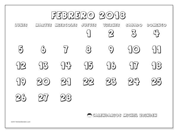 Calendario febrero 2018 (56LD). Planificación para imprimir gratis.