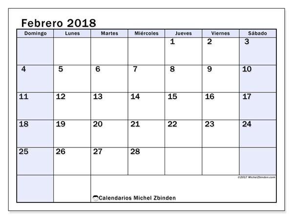 Calendario febrero 2018 (57DS). Calendario mensual para imprimir gratis.