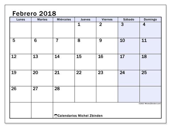 Calendario febrero 2018 (57LD). Calendario para imprimir gratis.