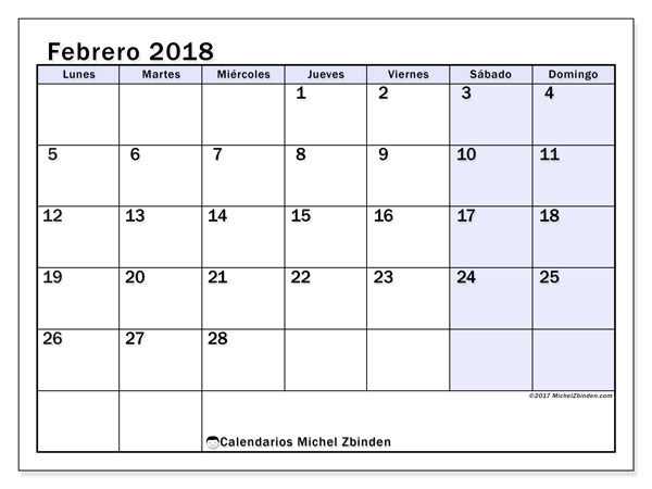 Calendario febrero 2018 (57LD). Almanaque para imprimir gratis.