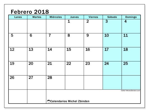 Calendario febrero 2018 (59LD). Calendario gratuito para imprimir.