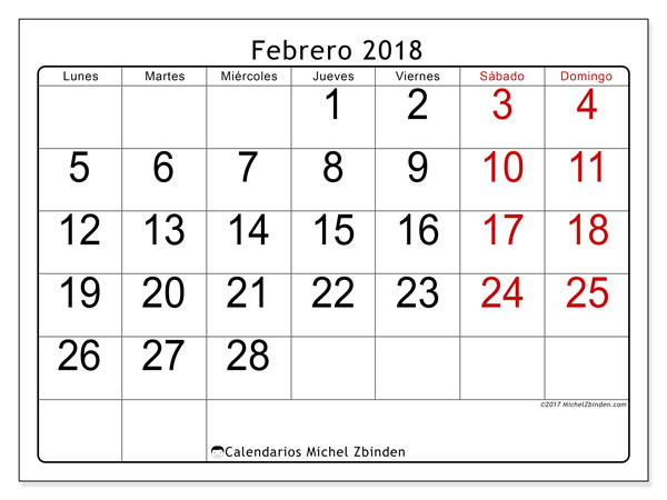 Calendario febrero 2018 (62LD). Calendario mensual para imprimir gratis.
