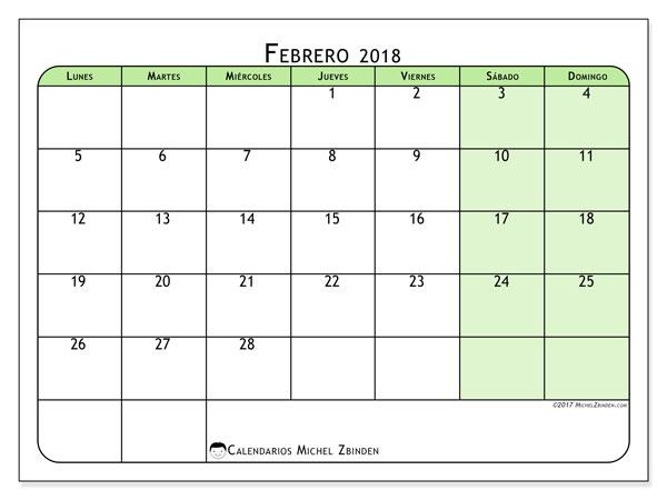Calendario febrero 2018 (65LD). Calendario gratuito para imprimir.