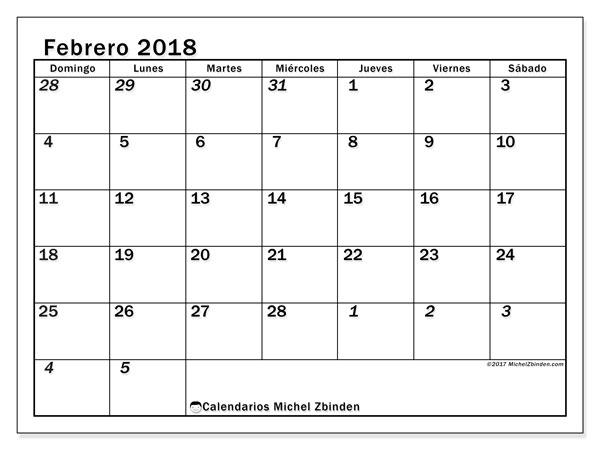 Calendario febrero 2018 (66DS). Planificación para imprimir gratis.
