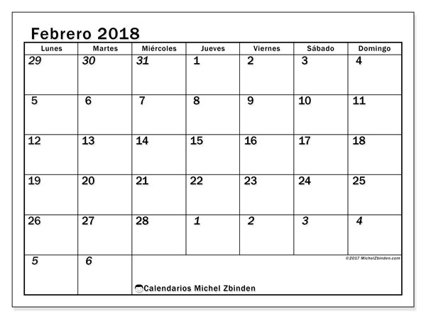 Calendario febrero 2018 (66LD). Planificación para imprimir gratis.