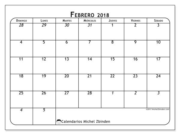 Calendario febrero 2018 (67DS). Calendario para imprimir gratis.