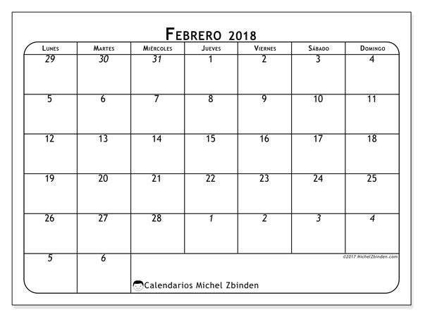 Calendario febrero 2018 (67LD). Calendario mensual para imprimir gratis.