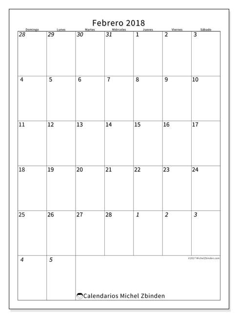 Calendario febrero 2018 (68DS). Planificación para imprimir gratis.