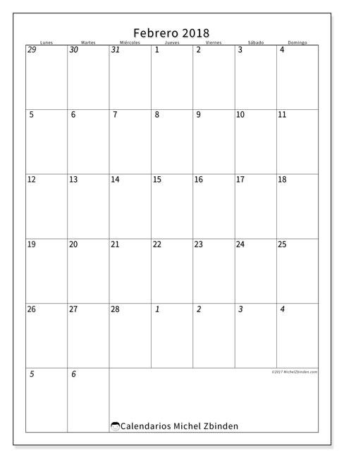 Calendario febrero 2018 (68LD). Calendario para imprimir gratis.