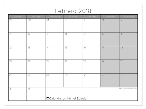 Calendario febrero 2018 (69LD). Calendario imprimible gratis.
