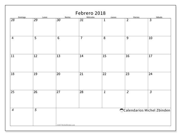 Calendario febrero 2018 (70DS). Calendario mensual para imprimir gratis.