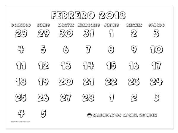 Calendario febrero 2018 (71DS). Almanaque para imprimir gratis.