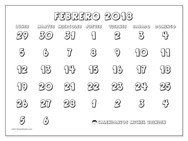 Calendario febrero 2018 (71LD). Planificación para imprimir gratis.