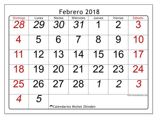 Calendario febrero 2018 (72DS). Calendario gratuito para imprimir.