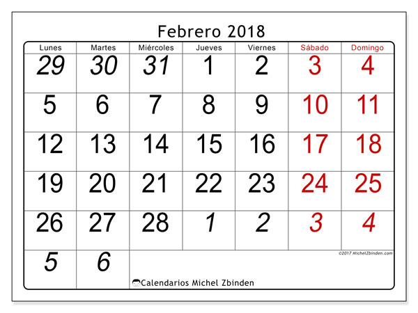 Calendario febrero 2018 (72LD). Calendario imprimible gratis.