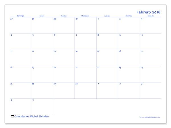 Calendario febrero 2018 (73DS). Calendario para el mes para imprimir gratis.