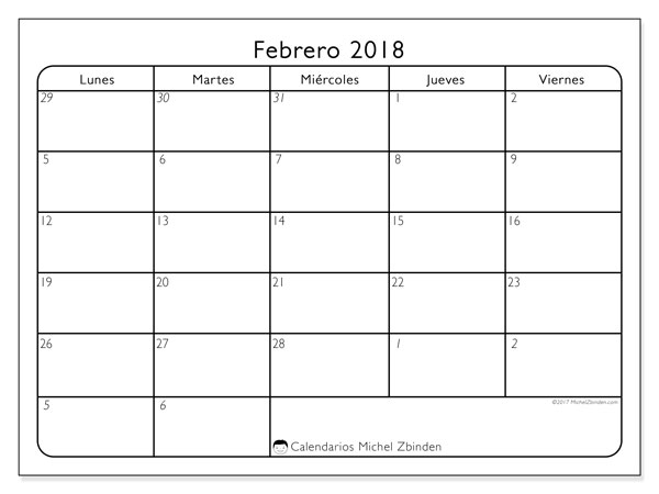 Calendarios febrero 2018 (DS).  74LV.