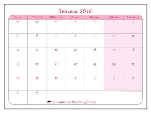 Calendario febrero 2018 (76LD). Calendario mensual para imprimir gratis.