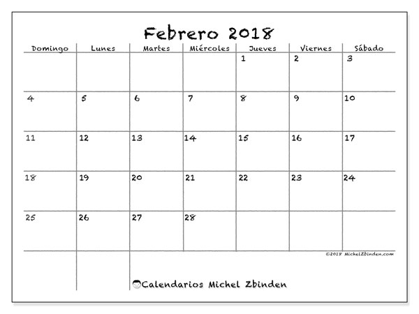 Calendario febrero 2018 (77DS). Almanaque para imprimir gratis.