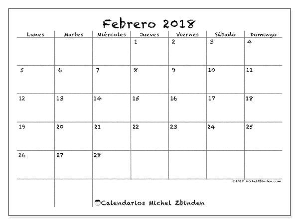Calendario  febrero de 2018, 77LD
