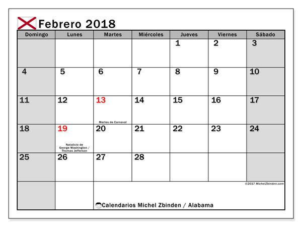 Calendario febrero 2018, con los días feriados en Alabama. Calendario para el mes para imprimir gratis.