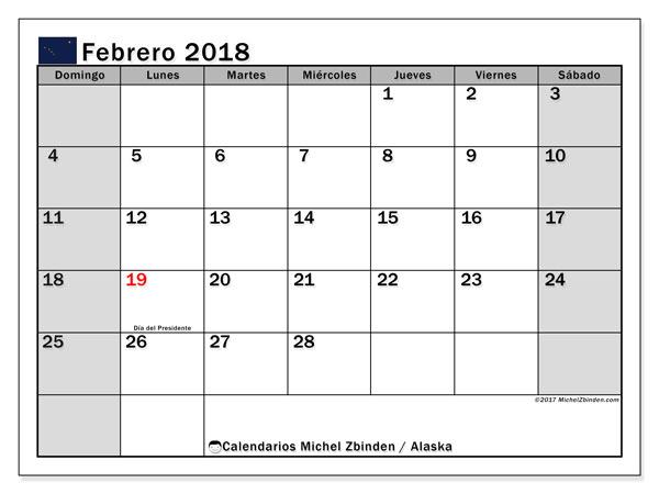 Calendario febrero 2018, con los días feriados en Alaska. Calendario para el mes para imprimir gratis.